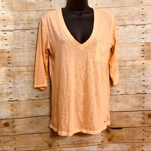 PINK Victorias Secret Small T Shirt Orange V Neck